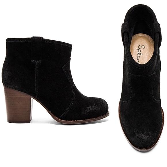 6d6fa9d90d2 Splendid Black Suede Lakota Heel Ankle Booties